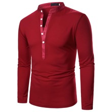 Men Half Button Stand Neck Polo Shirt