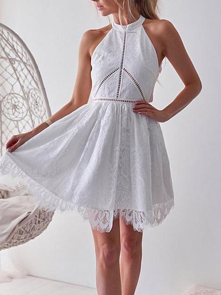 Milanoo Vestidos de encaje de mujer Vestidos de skater sin espalda sin mangas con cuello de joya blanca