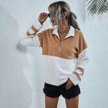 Teddy Sweatshirt mit Uni Streifen und halber Reissverschlussleiste