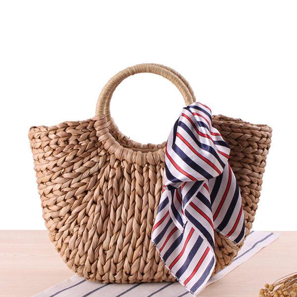 Straw Hairball Tassel Summer Beach Bag Handbag For Women