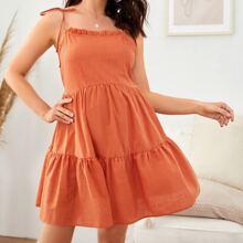 Maternity Cami Kleid mit Knoten auf Schulter und Ruesche Detail