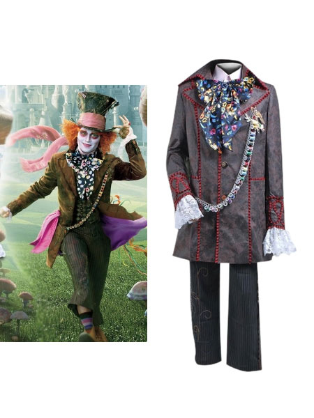 Milanoo Halloween Alice In Wonderland Costume Mens Mad Hatter Cosplay Costume Halloween
