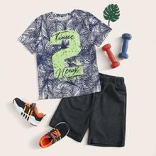 Jungen T-Shirt mit Blatt, Buchstaben Muster und Shorts Set