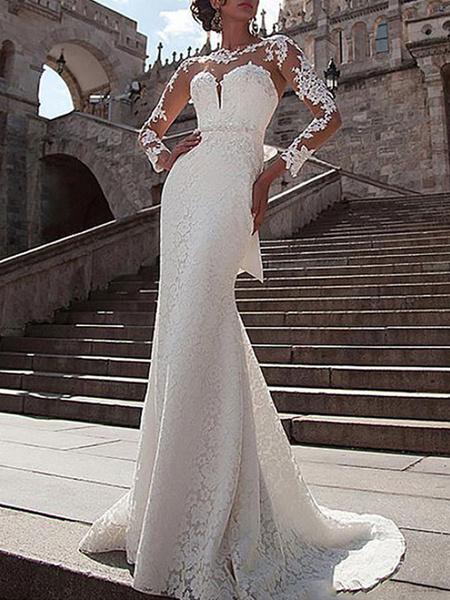 Milanoo Vestido de novia Encaje Ilusion Cuello Manga larga Sirena Vestidos de novia con tren de corte