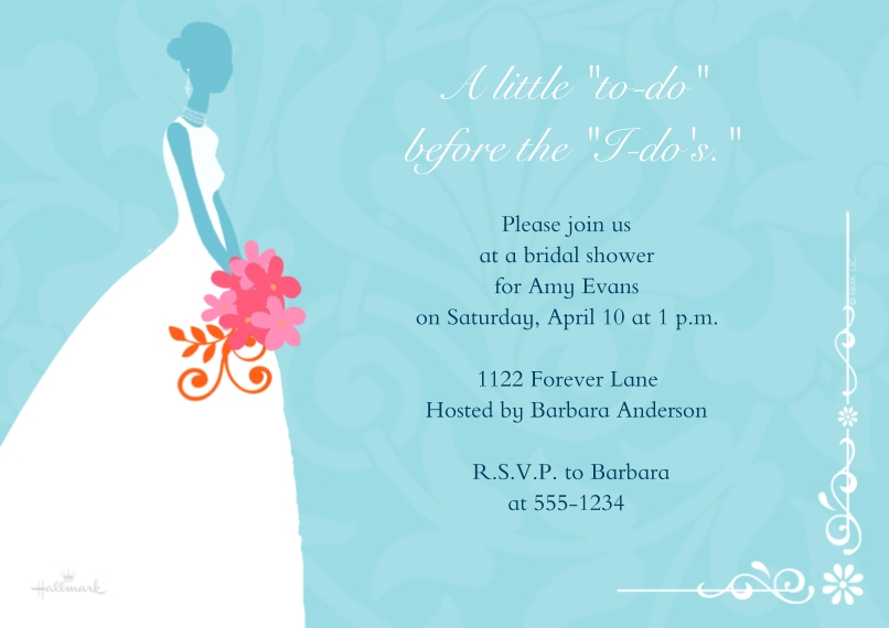 Wedding Shower Invitations 5x7 Cards, Standard Cardstock 85lb, Card & Stationery -Silhouette of Bride