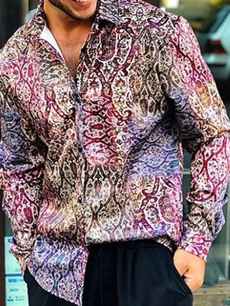 Ericdress Lapel Print Casual Loose Single-Breasted Mens Shirt