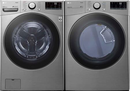 Graphite Steel Smart Side By Side Front Load Laundry Pair with WM3600HVA 27