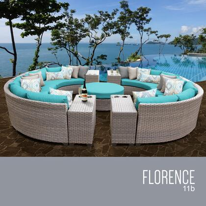 FLORENCE-11b-ARUBA Florence 11 Piece Outdoor Wicker Patio Furniture Set 11b with 2 Covers: Grey and