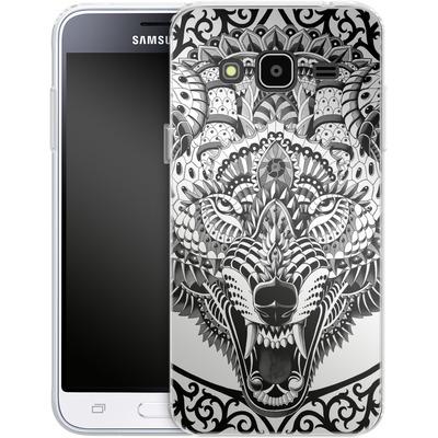 Samsung Galaxy J3 (2016) Silikon Handyhuelle - Wolf Head von BIOWORKZ