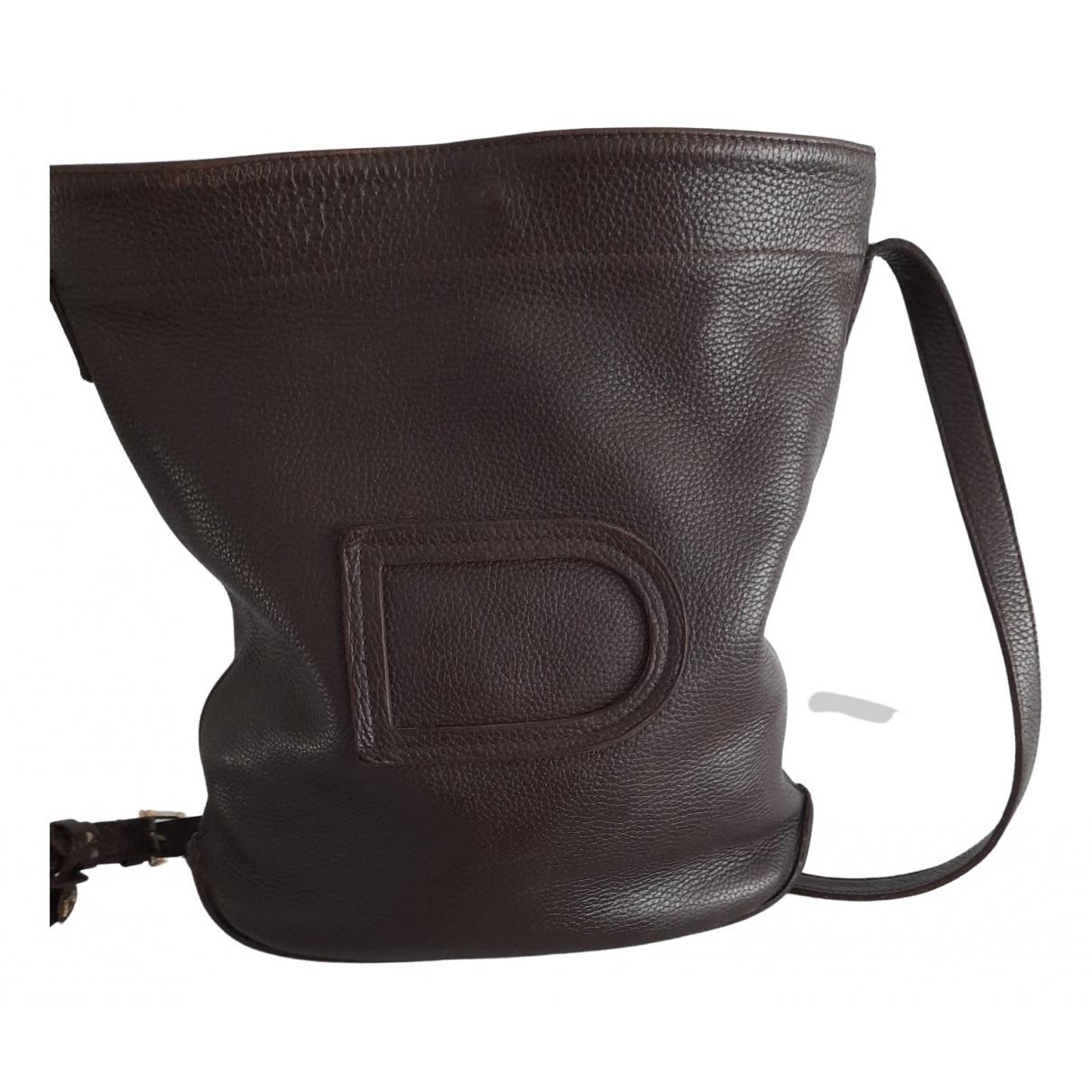 Delvaux Pin Handtasche in  Braun Leder