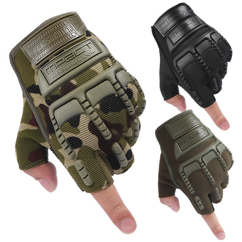 1 Pair Half Finger Gloves Tactical Soft Silicone Anti-skid Glove Hand Protector Cover For Riding Outdoor Hunting Camping
