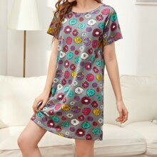 All Over Donuts Print Night Dress