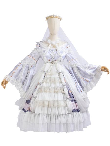 Milanoo Classic Lolita OP Dress Full Set Cross Lily Floral Print Lolita One Piece Dresses With Acc