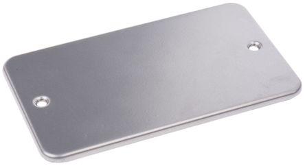 RS PRO Grey 2 Gang Blanking Plate, Metal, Flush Mounted