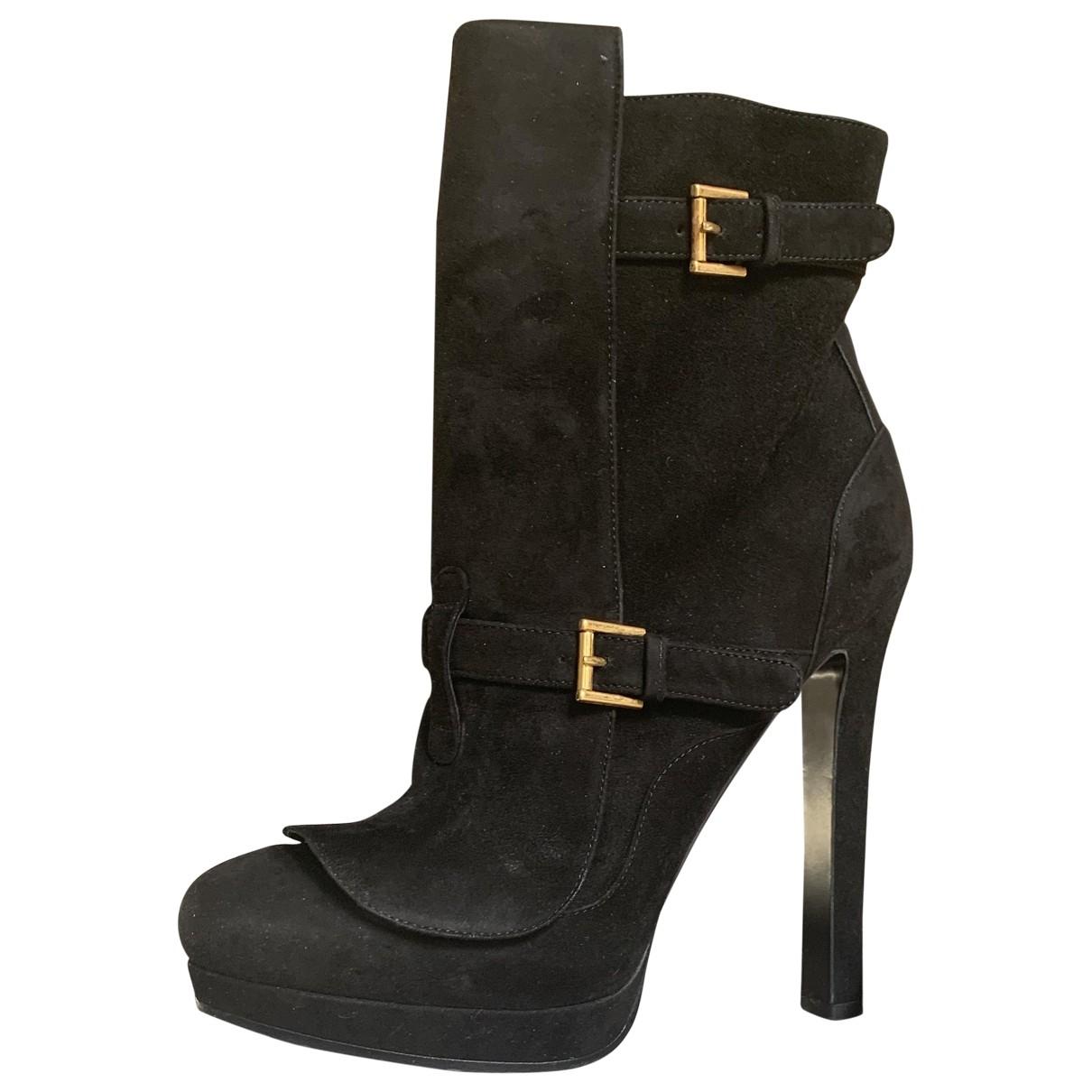 Alexander Mcqueen - Boots   pour femme en suede - noir
