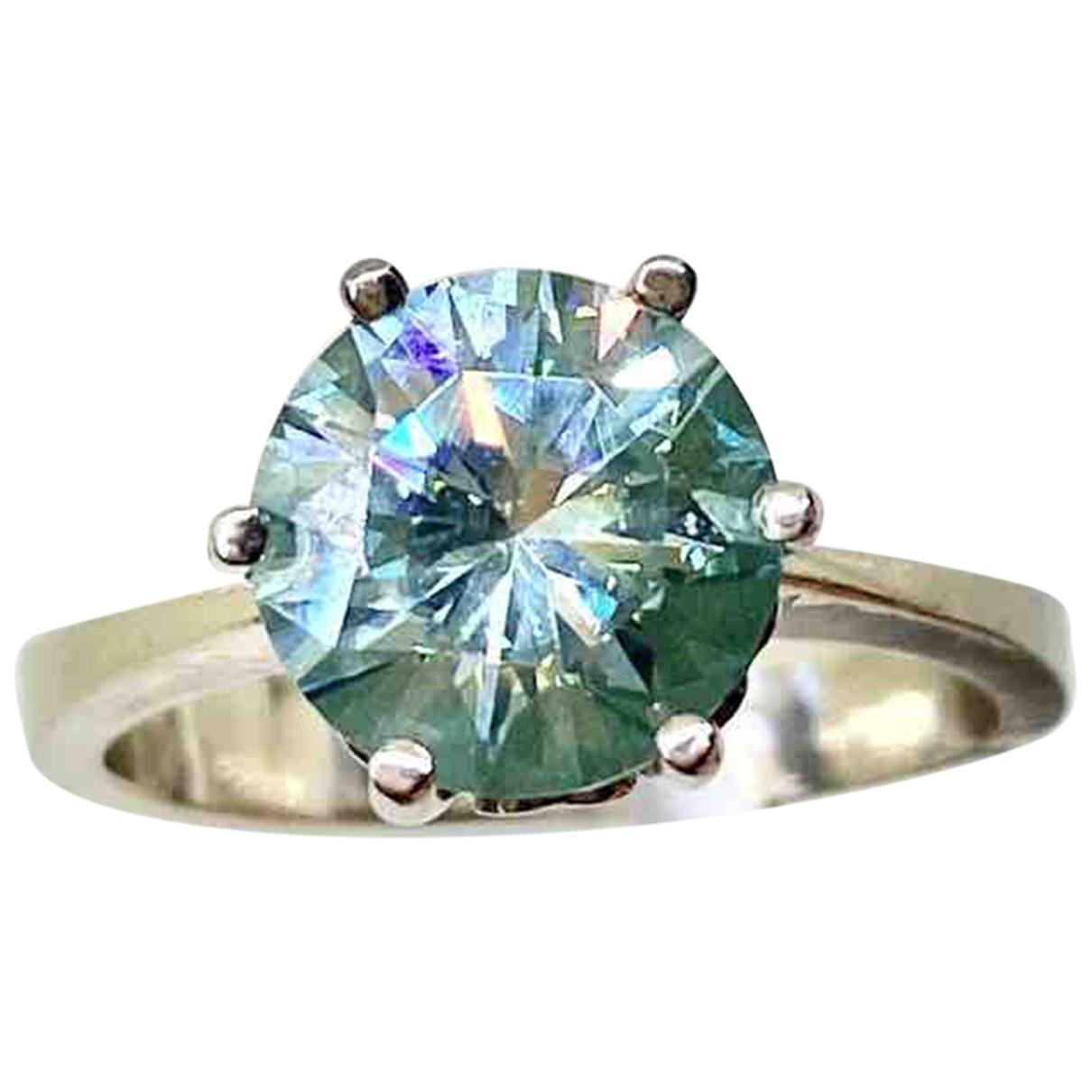 Non Signe / Unsigned Solitaire Ring in  Blau / Gruen Weissgold