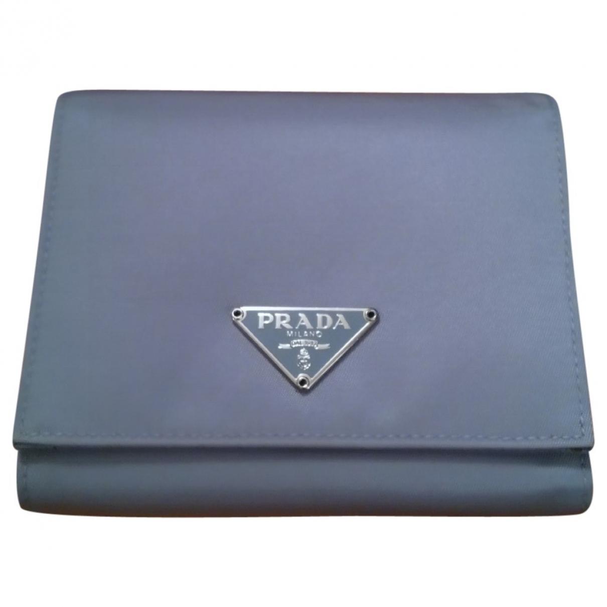 Prada - Portefeuille   pour femme en toile - turquoise