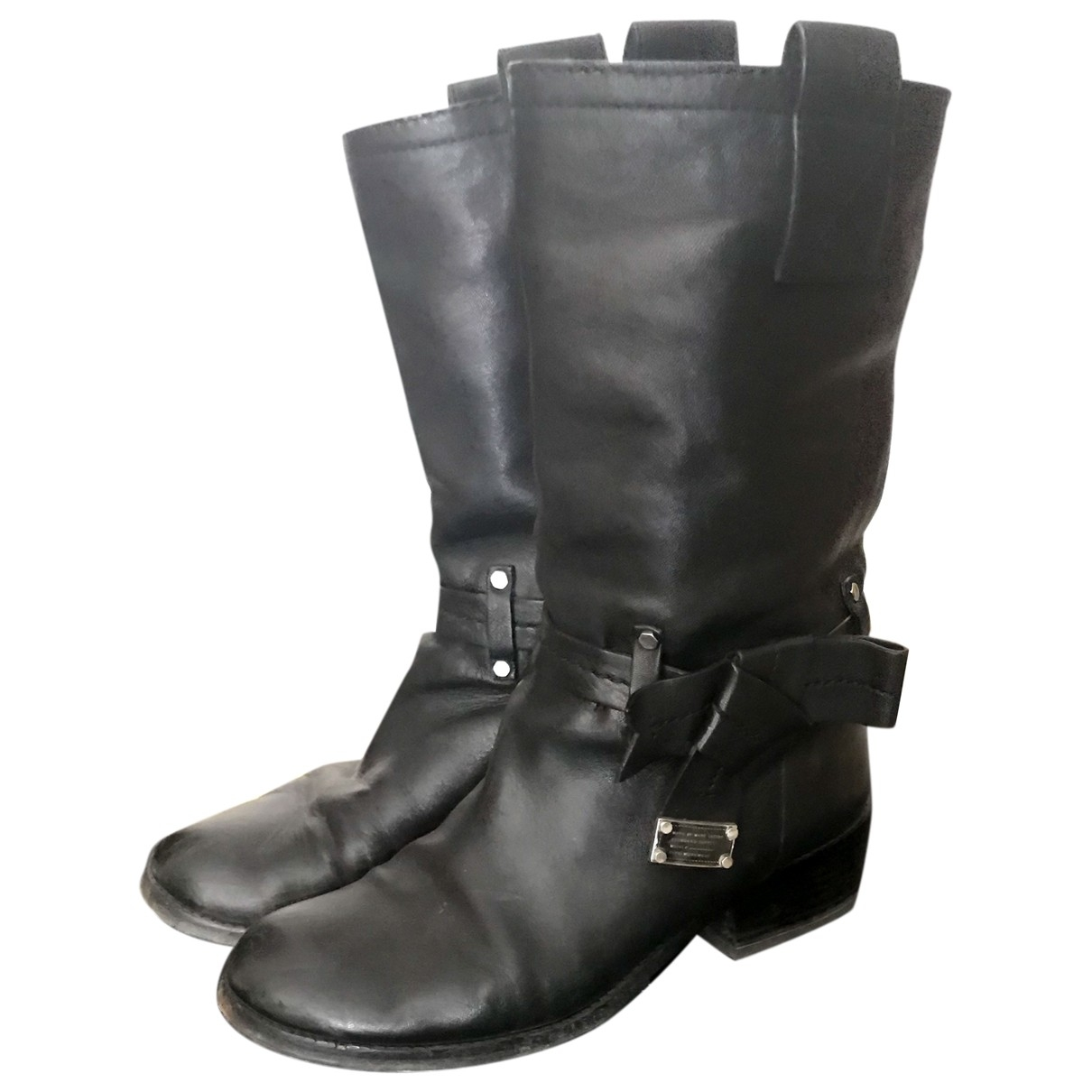 Marc By Marc Jacobs N Black Leather Ankle boots for Women 37 EU