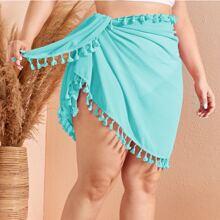 Plus Tassel Trim Tie Waist Cover Up Skirt