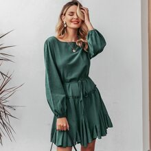 Bishop Sleeve Frill Trim Belted Godet Dress