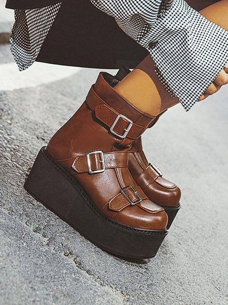 Milanoo Gothic Lolita Boots PU Leather Buckle Round Toe Lolita Footwear
