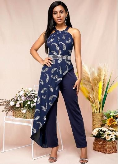 Paisley Print Boho Vibe Halter Jumpsuit - XS