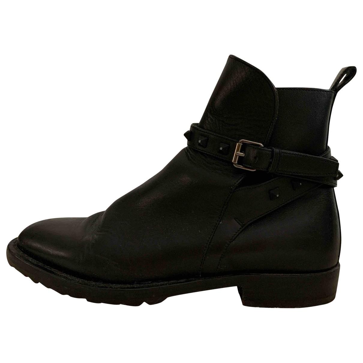 Valentino Garavani \N Black Leather Boots for Men 41 EU
