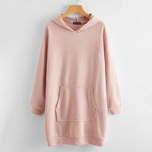 Kangaroo Pocket Drop Shoulder Hooded Sweatshirt Dress