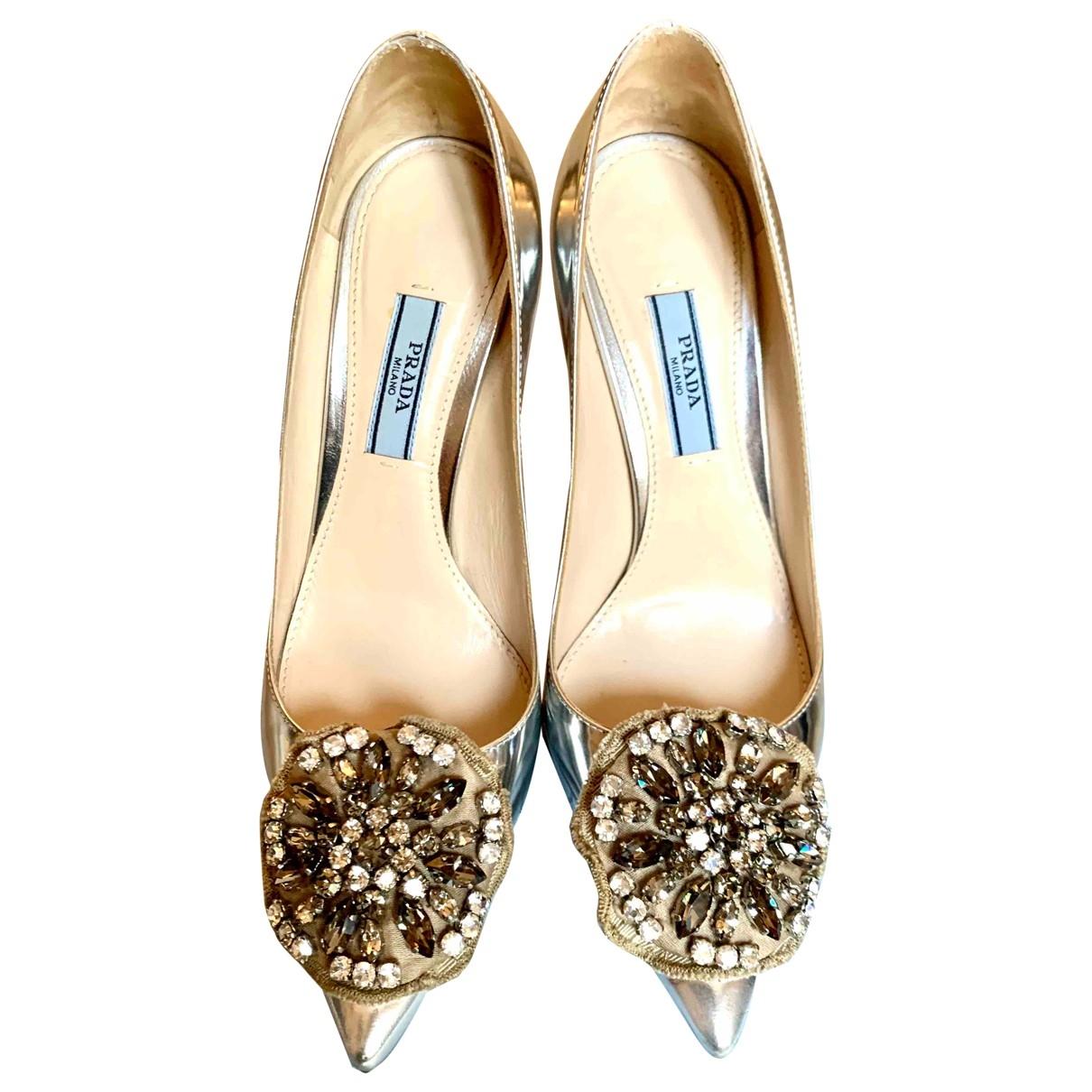 Prada \N Gold Leather Heels for Women 35 EU