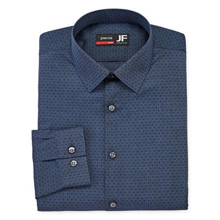 JF J.Ferrar Mens Point Collar Long Sleeve Stretch Dress Shirt, 20 36-37, Blue