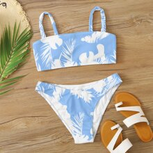 Gerippter Bikini Badeanzug mit Pflanzen Muster