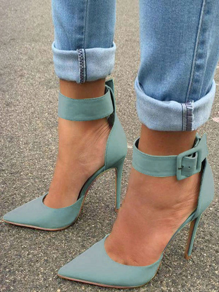 Milanoo Women's Dorsay Two-part High Heels Pointed Toe Ankle Strap Stiletto Heel Dress Shoes in Mint Green