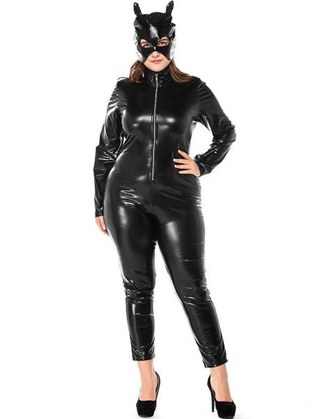 Milanoo Disfraz Halloween Disfraces de Halloween Disfraces de animales para mujer Disfraces de vacaciones de cuero de PU Catwoman negro Carnaval Hallo