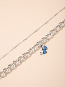 2pcs Butterfly Design Chain Anklet