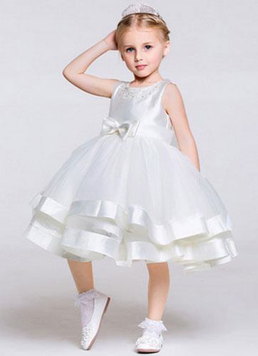 Milanoo Multi-Layer Organza Flower Girl Dress