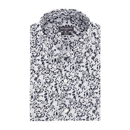 Van Heusen Mens Spread Collar Long Sleeve Stretch Dress Shirt - Extra Slim, 16.5 32-33, Multiple Colors