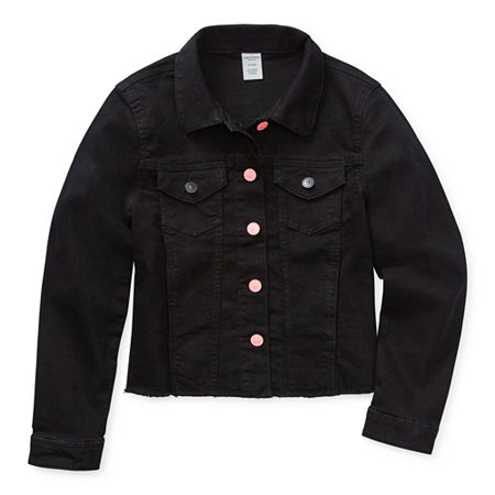 Arizona Little & Big Girls Denim Jacket, Xx-small (4-5) , Black