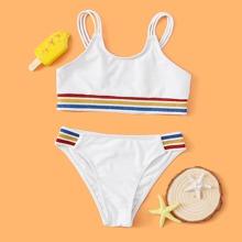 Girls Glitter Stripe Trim Bikini Swimsuit