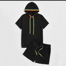 Men Contrast Rainbow Tape Hoodie and Track Shorts Set