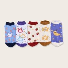 5 pares calcetines con patron de fresa