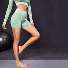 Sports Shorts mit Camo Muster und breitem Taillenband