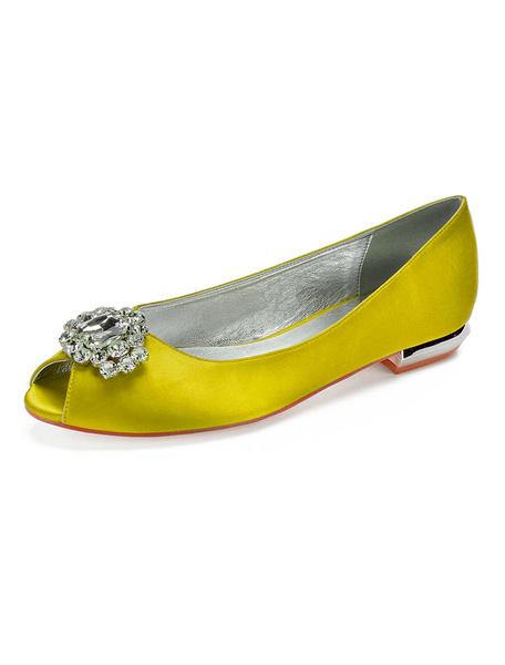 Milanoo Burgundy Mother Of The Bride Shoes Satin Peep Toe Rhinestones Wedding Flats