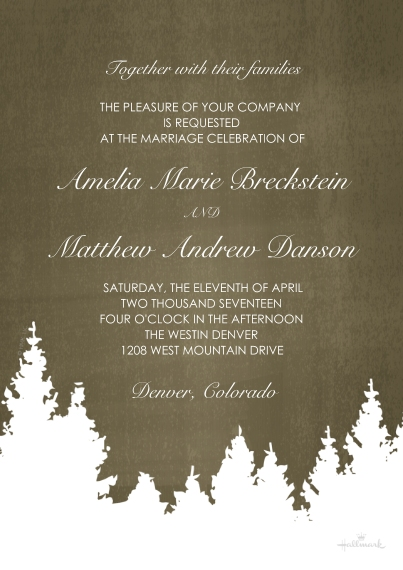 Rehearsal Dinner Invites 5x7 Cards, Premium Cardstock 120lb with Rounded Corners, Card & Stationery -Rustic Winter Invitation