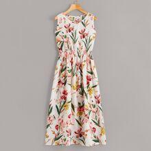 Vestido fruncido con estampado floral
