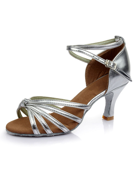 Milanoo Gold Latin Dance Sandals Straps PU Heels
