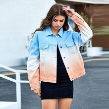 Denim Jacke mit sehr tief angesetzter Schulterpartie und Farbverlauf