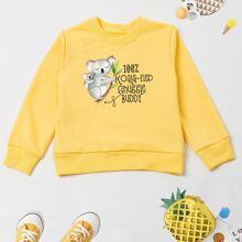 Toddler Boys Cartoon Koala & Slogan Graphic Sweatshirt