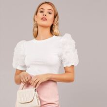 Layered Ruffle Detail Form Fitted Top