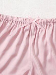Floral Lace Bralette & Satin Shorts