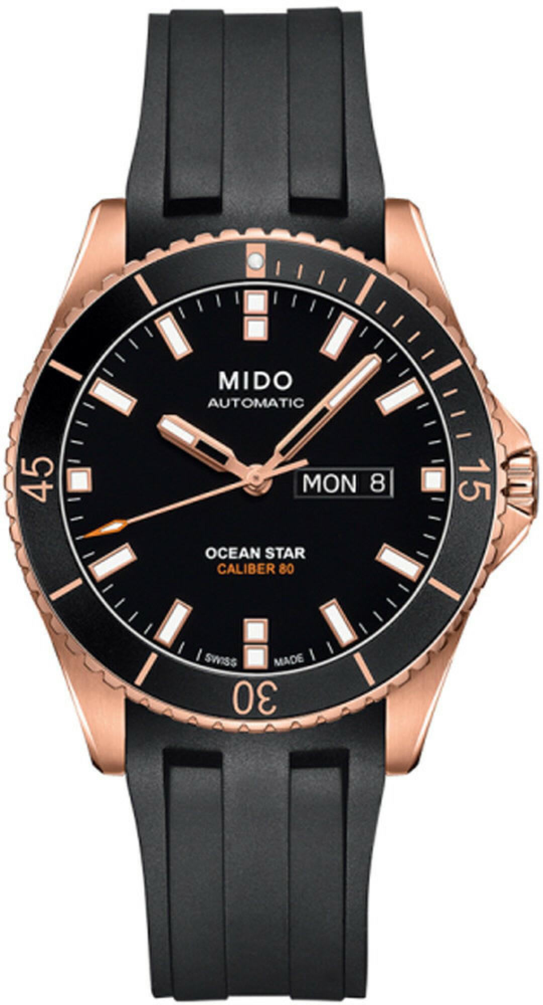 Mido M0264303705100 Sapphire Crystal Ocean Star Watch Rose-Gold/Black